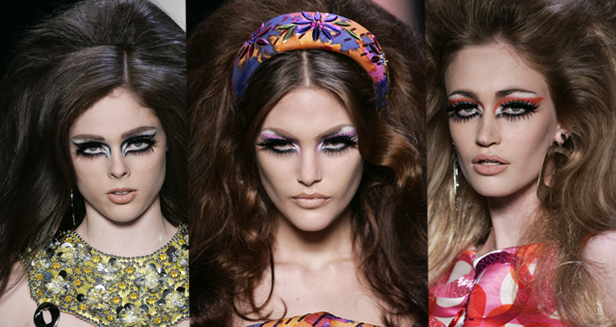 70s makeup style. Dior does 70s style hair and