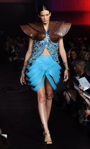 A model walks down the runway at the Swarovski Runway Rocks fashion show during London Jewellery Week - June 11, 2008 in London, England
