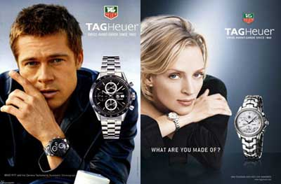 Brad Pitt and Uma Thurman Tag Heuer