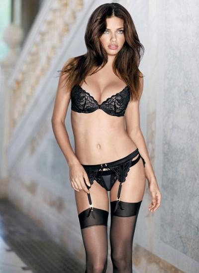 Adriana Lima black lingerie
