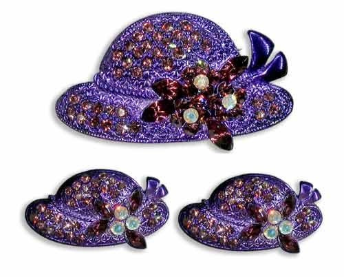 purple jewelry brooch and earrings
