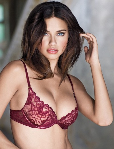 Sexy Adriana Lima in miracle bra lingerie