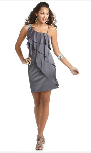 BCX Dress, Ruffle One Shoulder