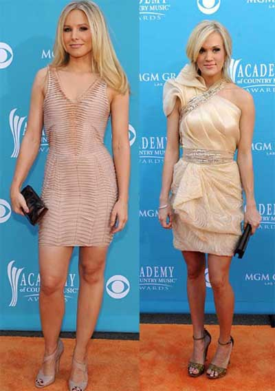 Carrie Underwood and Kristen Bell fashion style ACM 2010