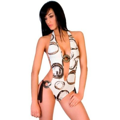 Designer Circle Print White Monokini Swimsuit