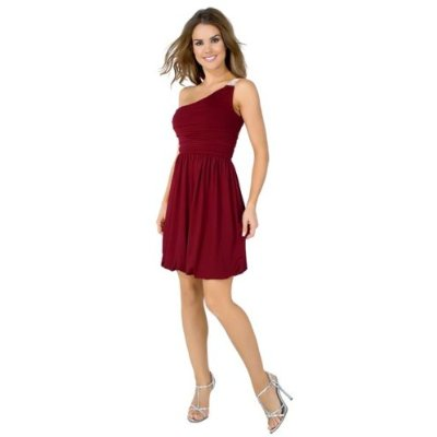 Fancy Grecian Inspired Petite One-Shoulder Bubble Dress with Vintage-Like Rhinestone Accent from Hot Fash Dresses - APOLLONIA Wine