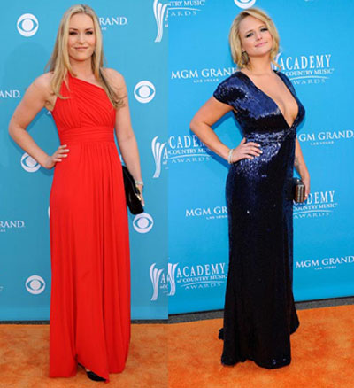Lindsey Vonn and Miranda Lambert academy of country music awards style 2010