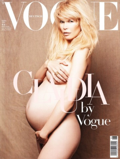 Claudia Schiffer Captured Pregnant, Nude by Karl Lagerfeld for Vogue Germany June 2010